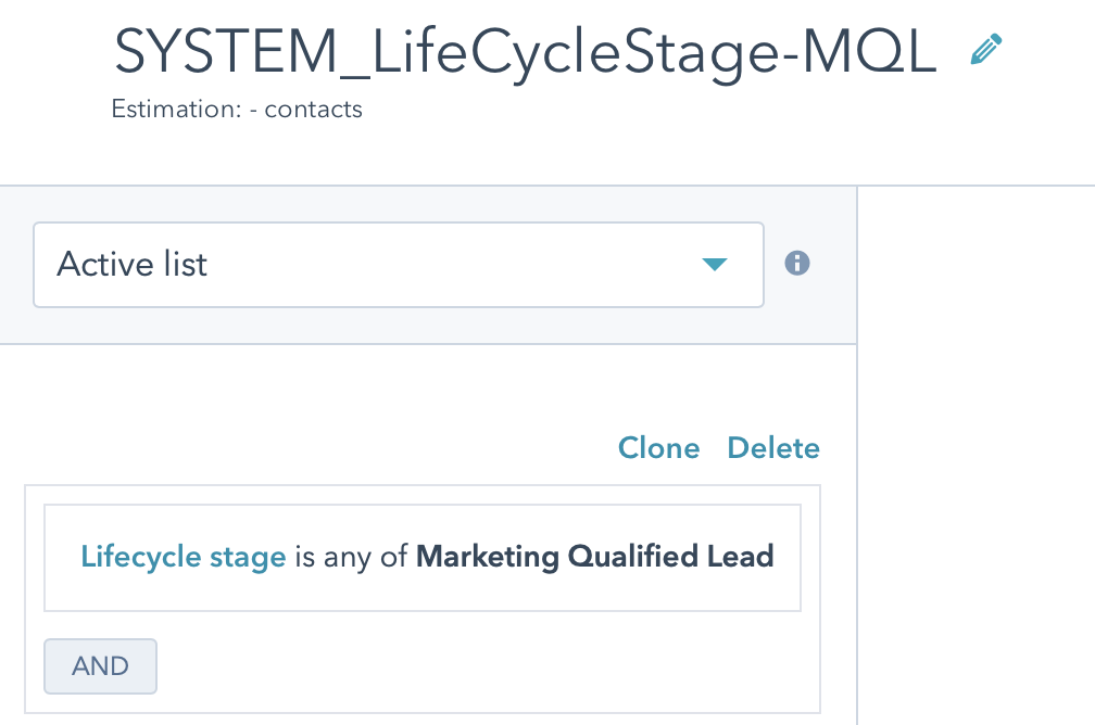 Hubspot Lifecycle Stage MQL Active List